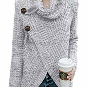 Asvivid Womans Turtleneck Cowl Neck Button Pullover Asymmetric Wrap Lighweight Cozy Ladies Knit Sweater Outerwear L Grey