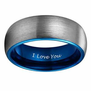 8mm Blue Tungsten Ring for her Wedding Band for Men Women Matte Brushed Engraved I Love You Size 11.5