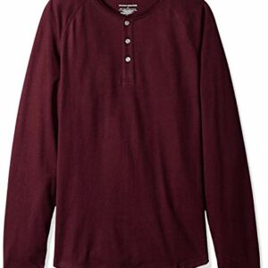 Amazon Essentials Men's Slim-Fit Long-Sleeve Henley Shirt, Burgundy, Medium