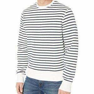Amazon Essentials Men's Crewneck Fleece Sweatshirt, White Stripe, Large