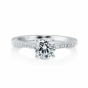 BERRICLE Rhodium Plated Sterling Silver Round Cubic Zirconia CZ Solitaire Promise Engagement Ring 1.18 CTW Size 8