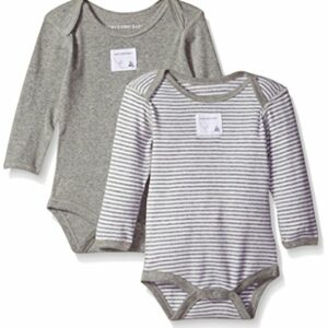 Burt's Bees Baby Unisex Baby Bodysuits, 2-Pack Organic Cotton Short & Long Sleeve One-Pieces, Heather Grey, Preemie