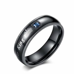 JDXN Couples Rings Her King His Queen Beauty Beast Wedding Band Set Anniversary Engagement Promise Ring (Men Black Her King, 9)