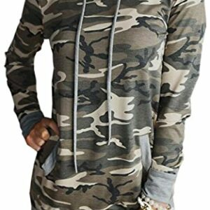 Angashion Women Hoodies-Tops- Floral Printed Long Sleeve Pocket Drawstring Sweatshirt with Pocket Camo M