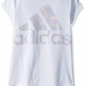 adidas Girls' Big Short Sleeve Graphic Tee T-Shirt, White Rainbow Foil, M