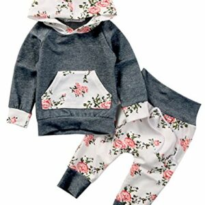 Baby Girls Long Sleeve Flowers Hoodie Top and Pants Outfit with Kangaroo Pocket (12-18M/Tag 90, Grey)