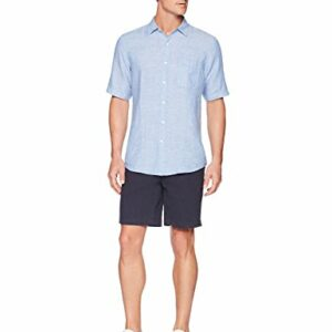 Amazon Essentials Men's Regular-Fit Short-Sleeve Linen Shirt, Blue, Large