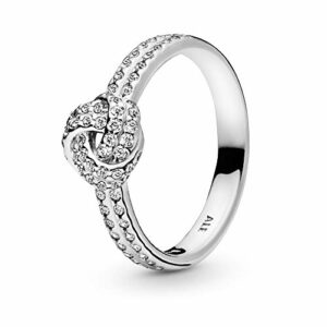 Pandora Jewelry – ShimmeRing for Women Knot Ring for Women in Sterling Silver with Clear Cubic Zirconia, Size 7 US / 54 EURO