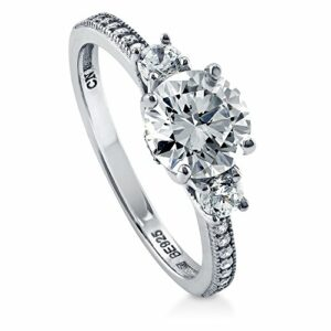 BERRICLE Rhodium Plated Sterling Silver Round Cubic Zirconia CZ 3-Stone Anniversary Promise Engagement Ring 1.59 CTW Size 7