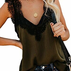 BLENCOT Women Ladies Sexy V Neck Lace Strappy Cami Tank Tops Casual Loose Sleeveless Blouse Shirts Grenn Small Green