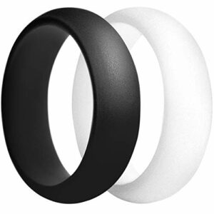 EMBNN Silicone Wedding Ring for Women Men Size 8 (2 Rings Pack), Womens Rubber-Silicone Wedding Ring-Band with Embedded Glitter, 2mm Thick, 5.5mm Width, White, Black