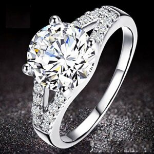 KUYIUIF Cushion 3ct CZ Engagement Rings Double Band Cubic Zirconia Promise Halo Engagement Ring 925 Sterling Silver Solitaire Engagement Ring for Women (7)