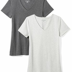 Amazon Essentials Women's 2-Pack Classic-Fit Short-Sleeve V-Neck T-Shirt, Charcoal Heather/Light Grey Heather, X-Large