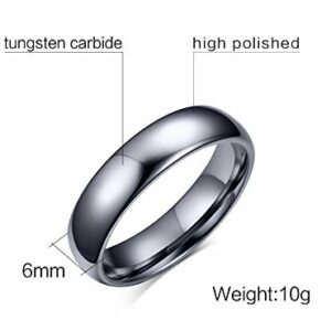 Custom Personalized Tungsten Carbide Domed Wedding Anniversary Matching Couple Ring Set for Him,Size 8