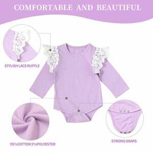 3PCS Baby Girls Pants Set Newborn Infant Purple Lace Romper Floral Pants with Bow Headbands Clothes