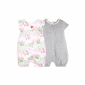 Burt's Bees Baby Girls Rompers, Set of 2 Bubbles, One Piece Jumpsuits, 100% Organic Cotton, Tossed Succulent, 12 Months