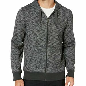 Amazon Essentials Men's Full-Zip Hooded Fleece Sweatshirt, Charcoal Space-Dye Medium