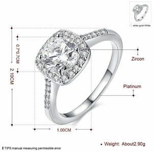 Yuren Eternal Love Women's 18K Rose/White Gold Plated CZ Diamond Engagement Rings Best Promise Rings Anniversary Wedding Bands (Silver, US code 6)