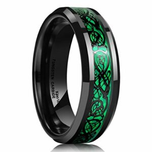 King Will Dragon 5mm Green Carbon Fiber Black Celtic Dragon Tungsten Carbide Ring Comfort Fit Wedding Band 10