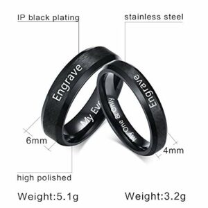 Fortheday Personalized Couple Rings for Him and Her Sets Promise Rings Matching Couples Rings 2pc Stainless Steel Rings for Him and Her (Black+Black(Rings Set 2pcs)