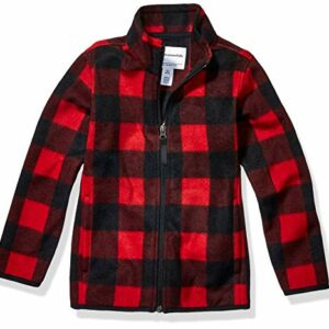 Amazon Essentials Boys' Little Full-Zip Polar Fleece Jacket, Exploded Red Buffalo Check, Large