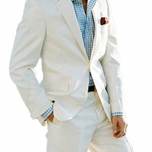 Botong Ivory Summer Beach Wedding Suits 2 Pieces Men Suits Groom Tuxedos Ivory 38 Chest / 32 Waist