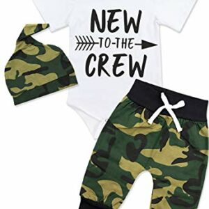 Newborn Baby Boy Clothes New to The Crew Letter Print Romper+Long Pants+Hat 3PCS Outfits Set 0-3 Months