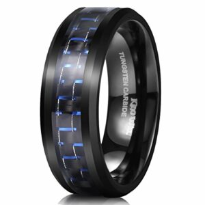 King Will Gentleman Mens 8mm Tungsten Ring Black and Blue Carbon Fiber Inlay High Polish Wedding Band Ring 8
