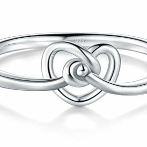 BORUO 925 Sterling Silver Ring Love Knot Promise Engagement Wedding Band 1.5mm Ring Size 9