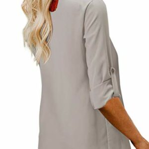 BLENCOT Women's Cute Winter Spring Long Sleeve Blouses Tops Button Down V Neck Soft Basic T Shirts Apricot S