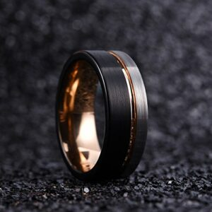 King Will Loop Tungsten Carbide Wedding Band 8mm Rose Gold Line Ring Black and Silver Brushed Comfort Fit9.5