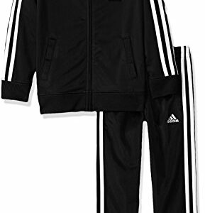 adidas Boys' Little Tricot Jacket & Pant Clothing Set, Adi Black, 7