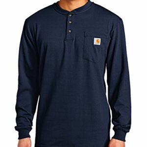 Carhartt Men's Workwear Pocket Henley Shirt (Regular and Big & Tall Sizes), Navy, 2X-Large