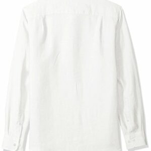 Amazon Essentials Men's Slim-Fit Long-Sleeve Linen Shirt, White, Medium