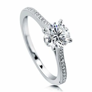 BERRICLE Rhodium Plated Sterling Silver Round Cubic Zirconia CZ Solitaire Promise Engagement Ring 1.18 CTW Size 7