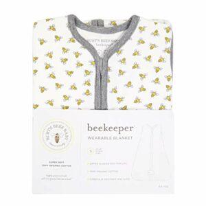 Burt's Bees Baby Baby Beekeeper Wearable Blanket, 100% Organic Cotton, Swaddle Transition Sleeping Bag, Honey Bee Cloud, Small