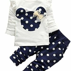 Cute Toddler Baby Girls Clothes Set Long Sleeve T-Shirt and Pants Kids 2pcs Outfits(White+Navy,2T)