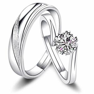 Sunamy Endless Love Matching Couple Rings for Him and Her Set, Adjustable 925 Sterling Silver Romantic Heart Design, Promise Ring Engagement Ring Anniversary Ring