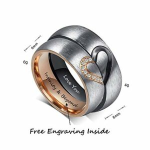 Fortheday Personalized Mens and Womens Promise Rings Set Free Engraving Stainless Steele Engagement Wedding Rings Band Set for Couples (Black+Rose Gold (Rings Set 2pcs))