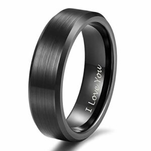 Shuremaster 6mm Black Tungsten I Love You Ring for Men Women Engraved Couple Wedding Band Comfort Fit Size 8.5