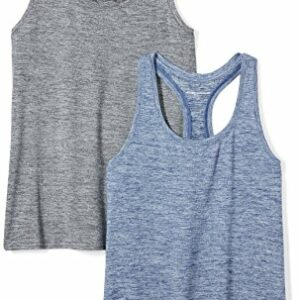 Amazon Essentials Women's 2-Pack Tech Stretch Racerback Tank Top, Black Navy Heather, Small