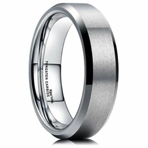 King Will 6MM Wedding Band for Men Tungsten Carbide Engagement Ring Comfort Fit Beveled Edges (8)