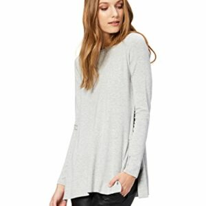 Amazon Brand – Daily Ritual Women's Long-Sleeve Split-Hem Tunic, Light Heather Grey, Small