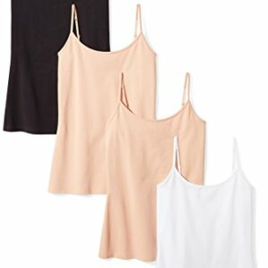 Amazon Essentials Women's 4-Pack Slim-Fit Camisole, Camel/Camel/White/Black, Medium