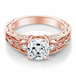 925 Rose Gold Plated Silver Women's Ring, 1.40 Cttw, 6MM Cushion Cut Set with Zirconia from Swarovski (Size 7)