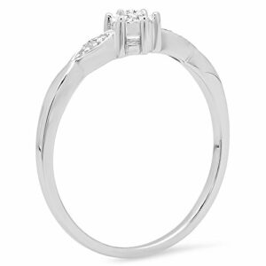 Dazzlingrock Collection 0.05 Carat (ctw) Sterling Silver Round White Diamond Bridal Promise Engagement Ring, Size 7