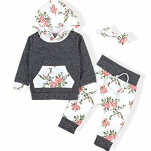 Baby Girls Long Sleeve Flowers Hoodie Tops and Pants Outfit with Pocket Headband(0-6 Months)