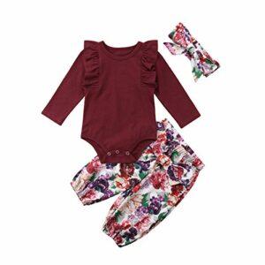 3PCS Clothes Set Newborn Toddler Baby Girl Romper Bodysuit Jumpsuit Floral Halen Pants Outfit Clothes (6-9 Months, Purple)