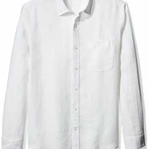 Amazon Essentials Men's Regular-Fit Long-Sleeve Linen Shirt, White, X-Large