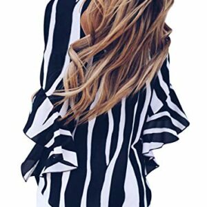 Asvivid Womens Striped V Neck Shirt Short Bell Short Sleeve Tops Ladies Going Out Flowy Summer Blouse Business Tunics Large Black